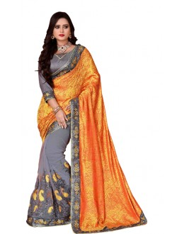 Party Wear Orange & Grey Mono Net Saree  - TM-236