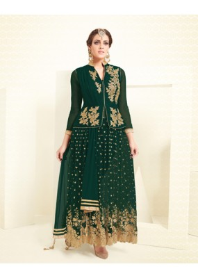 Eid Special Dark Green Mono Net Anarkali Suit - VLT1899PRIVLTHR