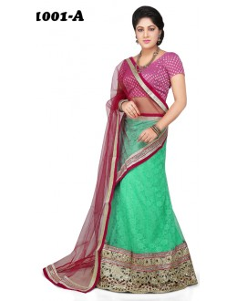Party Wear Sea Green & Pink Lehenga Choli - 1001-A