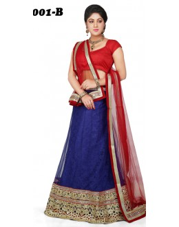 Party Wear Red & Blue Lehenga Choli - 1001-B