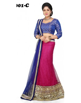 Traditional Blue & Pink Lehenga Choli - 1001-C
