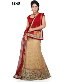 Traditional Red & Beige Lehenga Choli - 1001-D