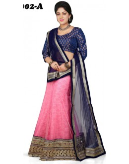 Traditional Blue & Light Pink Lehenga Choli - 1002-A