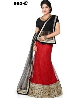 Wedding Wear Black & Red Lehenga Choli - 1002-C