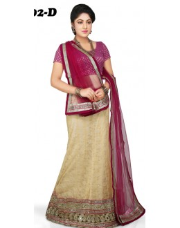 Wedding Wear Beige & Maroon Lehenga Choli - 1002-D