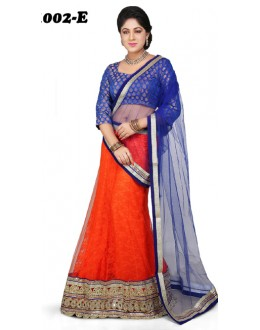 Wedding Wear Blue & Orange Lehenga Choli - 1002-E