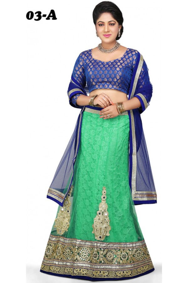 Designer Style Blue & Sea Green Lehenga Choli - 1003-A