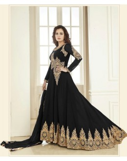 Dia Mirza In Georgette Anarkali Suit  - Aashirvad70005Black