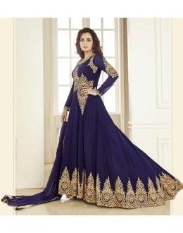 Dia Mirza In Georgette Anarkali Suit  - Aashirvad70005Blue