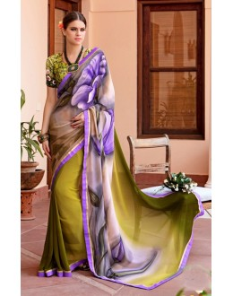 Festival Wear Green Georgette Saree  - Akanksha9013