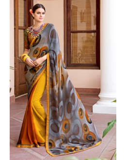 Ethnic Wear Grey & Yellow Georgette Saree  - Akanksha9001