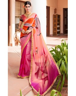 Casual Wear Pink Georgette Saree  - Akanksha9002