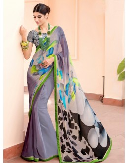 Ethnic Wear Grey Georgette Saree  - Akanksha9004