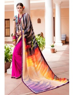 Ethnic Wear Multi-Colour Georgette Saree  - Akanksha9007