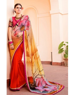 Festival Wear Multi-Colour Georgette Saree  - Akanksha9008