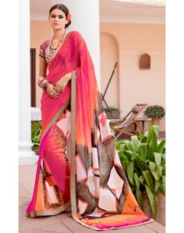 Ethnic Wear Pink Georgette Saree  - Akanksha9011