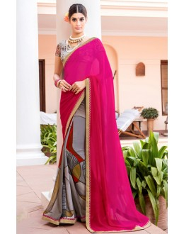 Casual Wear Pink & Grey Georgette Saree  - Akanksha9014