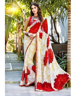 Party Wear Cream & Red Georgette Saree  - Akira12036