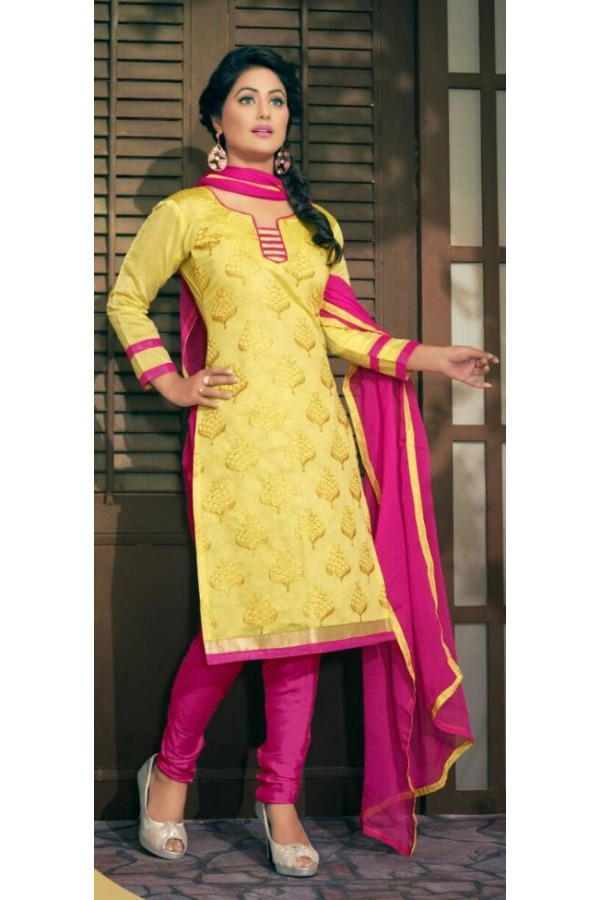 Casual Wear Yellow & Pink Salwar Suit - Amaya1002