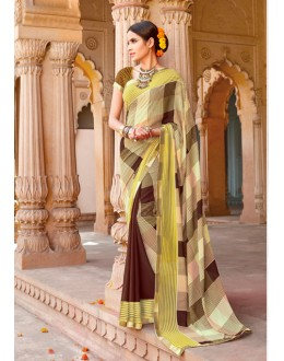 Casual Wear Yellow Major Georgette Saree  - Anokhi5001