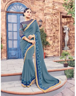 Party Wear Grey Fancy Saree  - Anushee3002