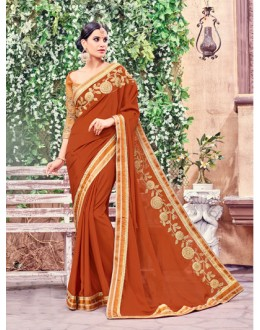 Casual Wear Orange Fancy Saree  - Anushee3009