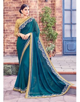 Party Wear Blue Fancy Saree  - Anushee3010