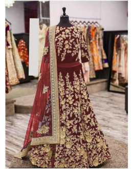 Wedding Wear Maroon Viscose Lehenga Choli - Aparna005Maroon
