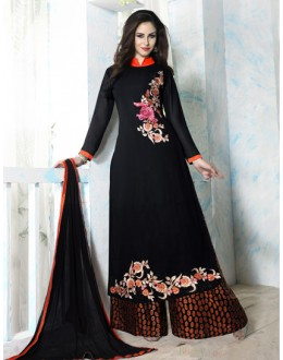 Party Wear Black & Orange Georgette Palazzo Suit - Bhavya04