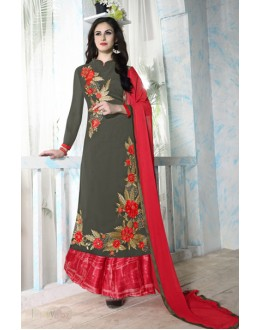 Festival Wear Gery & Red Georgette Palazzo Suit - Bhavya07