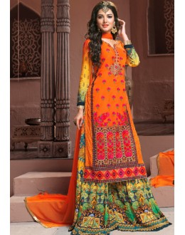 Party Wear Orange Georgette Palazzo Suit  - BRIDAL09