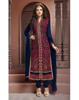 Festival Wear Navy Blue Georgette Salwar Suit  - BRIDAL13