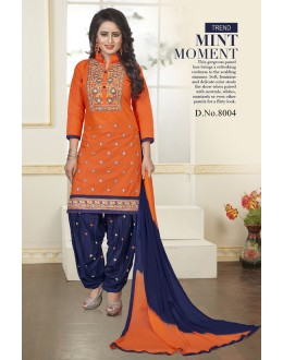 Festival Wear Orange Orange Pure Cotton Dress Material - BulBul8004