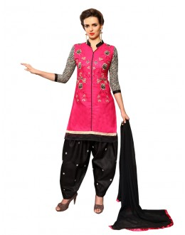 Festival Wear Pink Cotton Patiyala Suit  - CandyCrush6001
