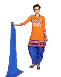 Ethnic Wear Orange Cotton Patiyala Suit  - CandyCrush6002