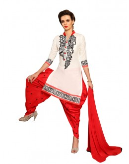 Party Wear White Cotton Patiyala Suit  - CandyCrush6004