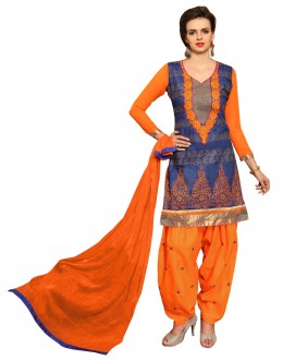 Ethnic Wear Blue Cotton Patiyala Suit  - CandyCrush6006
