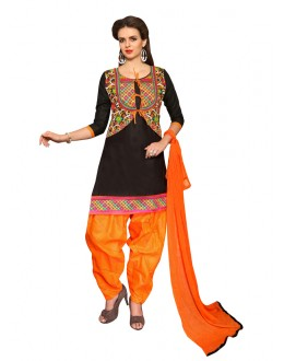 Festival Wear Black Cotton Patiyala Suit  - CandyCrush6007