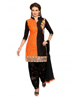 Casual Wear Black Cotton Patiyala Suit  - CandyCrush6008