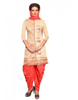 Office Wear Cream Cotton Patiyala Suit  - CandyCrush6009