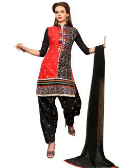 Party Wear Red & Black Patiyala Suit  - CandyCrush6011