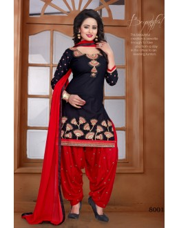 Festival Wear Black Cambric Cotton Patiyala Suit - Chitra8001