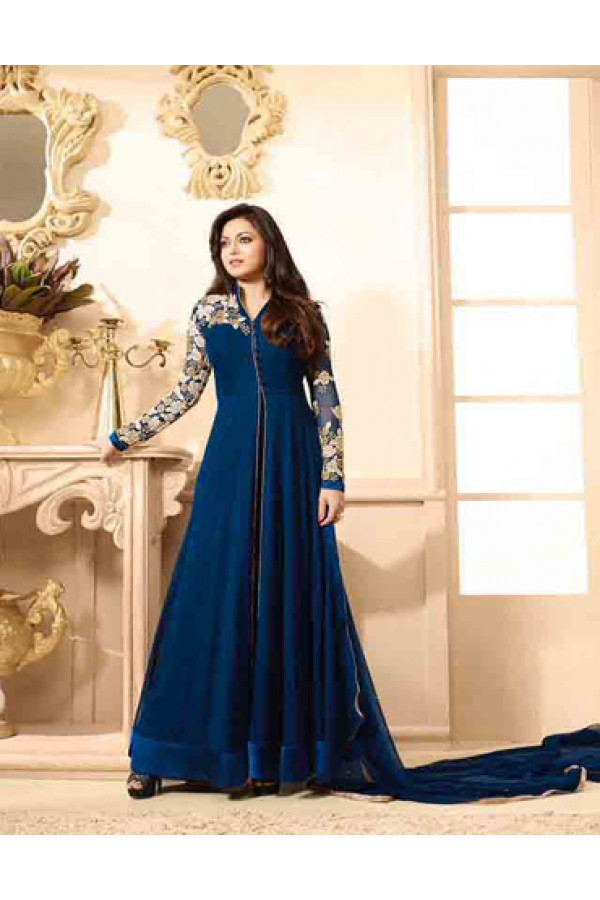 Praty Wear Dark Blue Designer Anarkali Suit  - 86004
