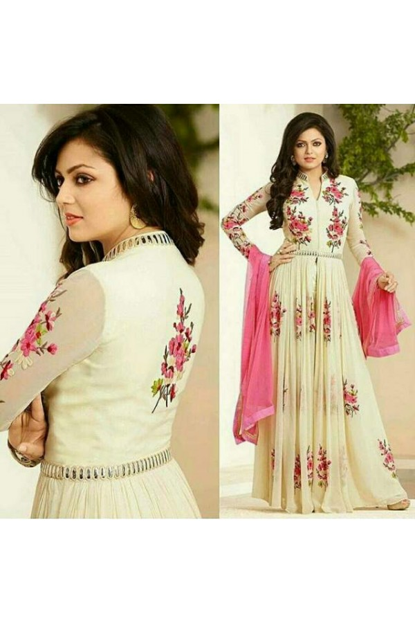 Praty Wear Cream Designer Anarkali Suit  - 86006