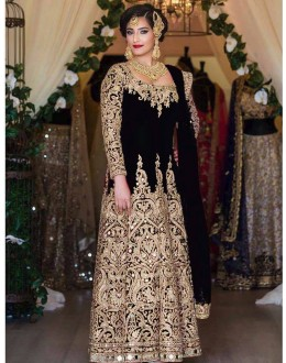 Bollywood Inspired - Festival Wear Tafetta Silk  Anarkali Suit - DulhanBlack