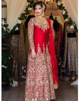 Bollywood Inspired - Bridal Wear Tafetta Silk  Anarkali Suit - DulhanRed