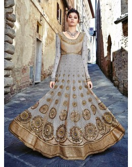 Bridal Wear Grey Rasal Net Suit - Floral7365D