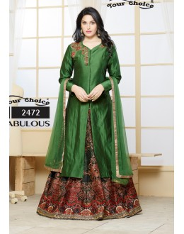 Ethnic Wear Green Ton Silk Lehenga Suit - Gazal2472