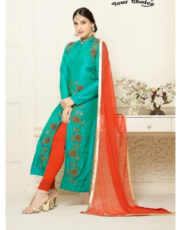 Festival Wear Green Cotton Salwar Suit - Gazal2500