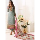 Ethnic Wear Grey & Pink Georgette Salwar Suit  - 1503
